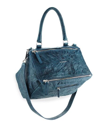 Pandora Medium Leather Satchel Bag, Mineral Blue