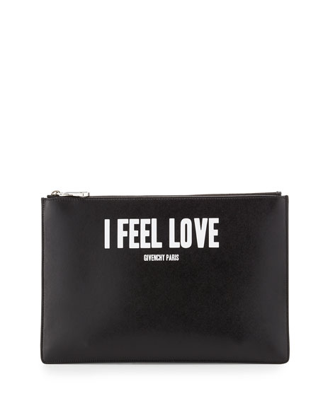 Iconic Prints I Feel Love Medium Pouch Bag, Black