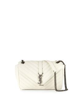 Monogram Small Leather Flap Shoulder Bag, White Gray (Blanc Grise)