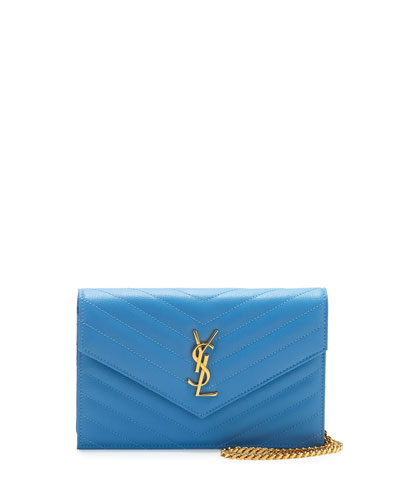 Monogram Leather Wallet-on-Chain Bag, Bleu Clair