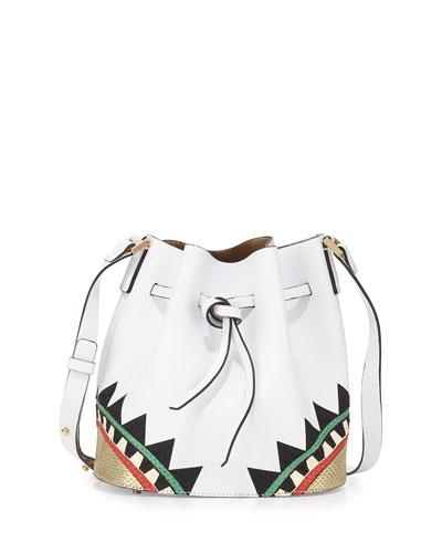 Daliah Geometric Leather Bucket Bag, White