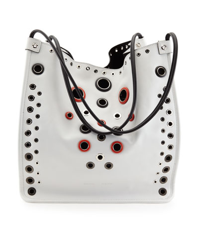 Grommet-Studded Medium Tote Bag