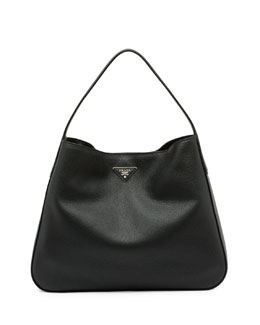 Vitello Daino Medium Wide-Strap Hobo Bag, Black (Nero)
