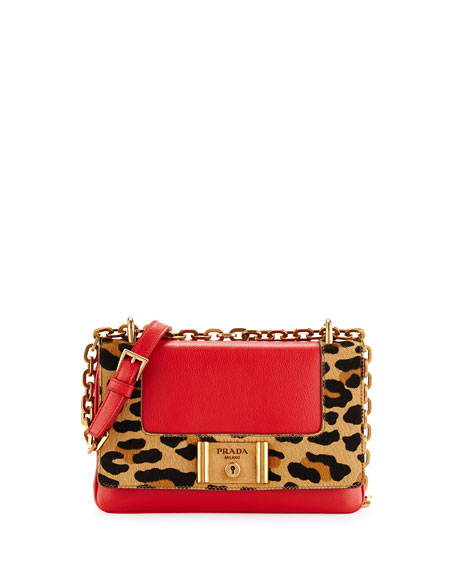 Prada Vitello Daino Zip-Top Crossbody Bag, Red (Rosso)