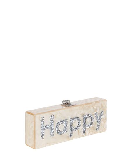 Flavia Happy Acrylic Clutch Bag, Nude