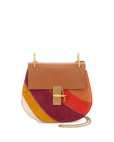 Drew Patchwork Suede Shoulder Bag, Caramel