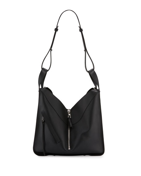 Loewe Solid Large Leather Hammock Bag, Black