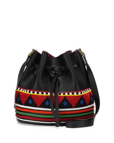 Daliah Beaded Leather Bucket Bag, Multi