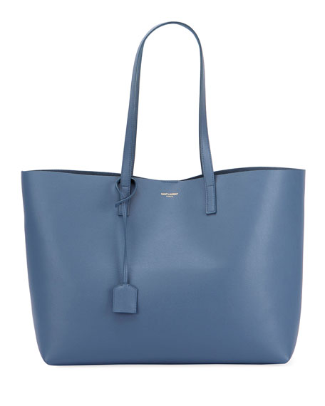 Saint Laurent Large Leather Shopping Tote Bag, Blue