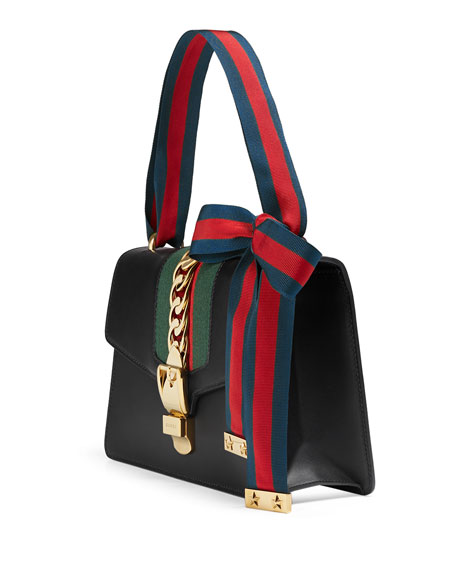 Sylvie Small Leather Shoulder Bag Black/Green/Red