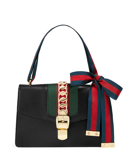 4bb677e40 Gucci Sylvie Small Leather Shoulder Bag, Black/Green/Red