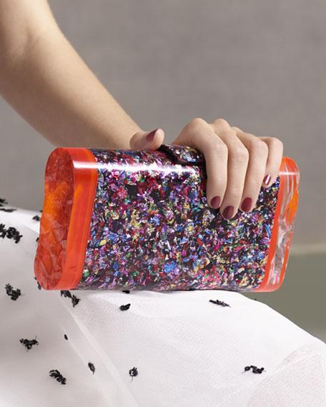 Lara Confetti Acrylic Backlit Clutch Bag, Multi