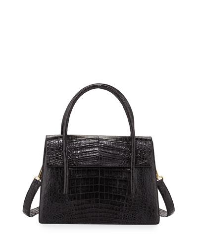 Flap-Top Crocodile Large Shoulder Bag, Black