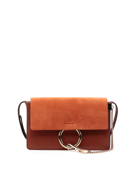 Faye Small Suede Shoulder Bag, Classic Tobacco