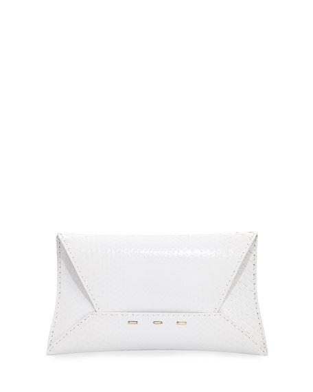 Manila Python Clutch Bag, White