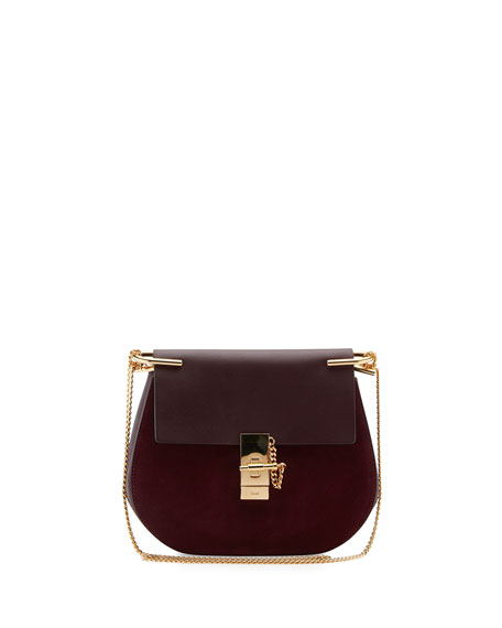 Chloe Drew Mini Chain Saddle Bag, Dark Purple
