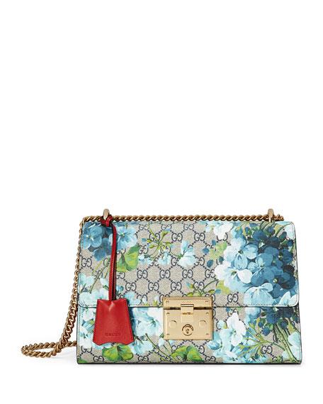 3ce344bf6153b3 Gucci Padlock GG Blooms Shoulder Bag, Blue/Red