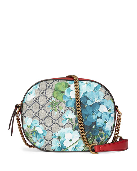 ca729d821a1e Gucci GG Blooms Mini Chain Bag, Blue/Red