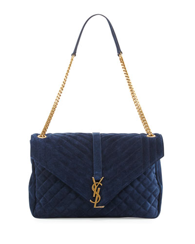yves saint laurent off-white monogram tri-pocket bag