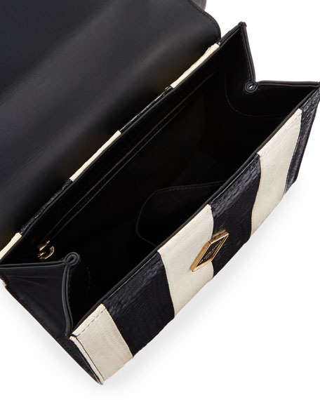Mini Alex Bunny Striped Satchel Bag with Fur Pom, Black/White