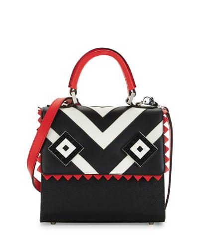 Mini Alex Mask Satchel Bag, Black/Red/White