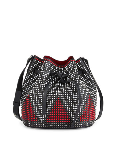 Daliah Studded Leather Bucket Bag, Black/Red/Multi