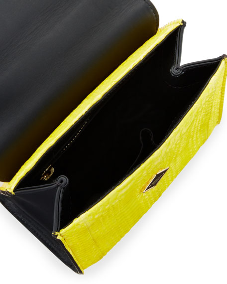 Micro Alex Black Widow Snakeskin Frame Bag, Yellow