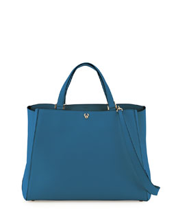 Triennale Soft Leather Tote Bag, Cobalt