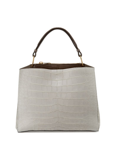 Seven Cocco Alligator & Leather Tote Bag, Pearl Gray/Taupe/Winter White