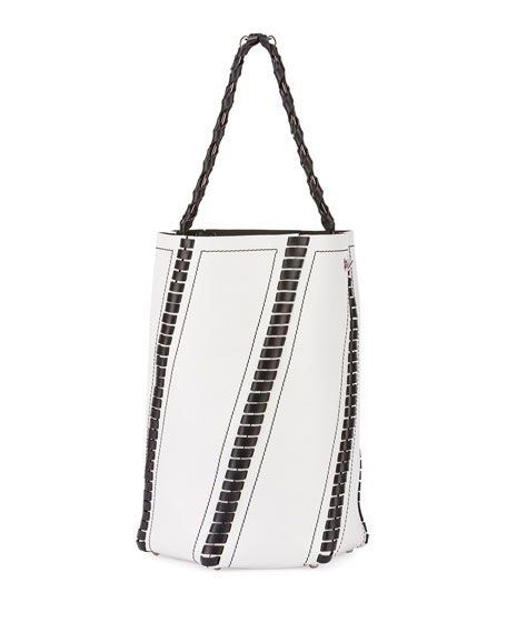 Hex Medium Whipstitch Leather Bucket Bag