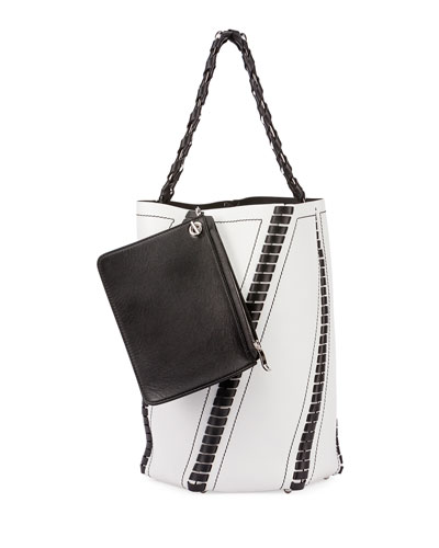 Hex Whipstitch Leather Medium Bucket Bag, Black