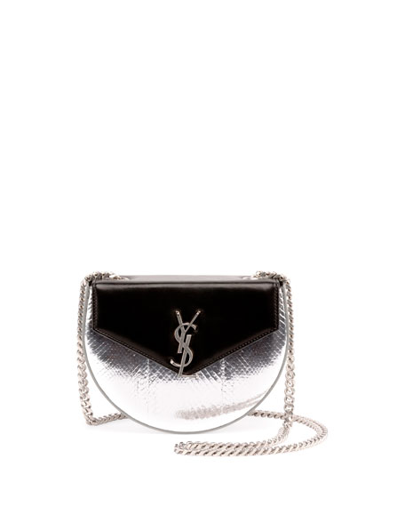 Demi Lune Snakeskin Shoulder Bag, Platinum/Black