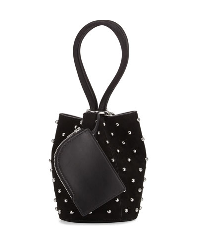 Palladium Mini Leather Bucket Bag, Black