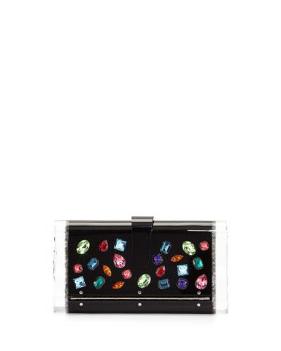 Lara Backlit Swarovski® Jeweled Clutch Bag, Black