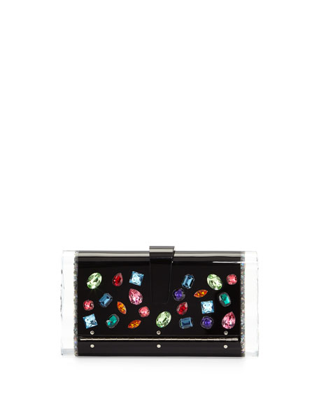 Lara Backlit Swarovski® Jeweled Clutch Bag, Black