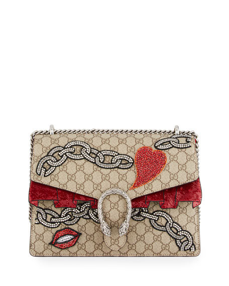 4cde8734cfe1 Gucci Dionysus GG Supreme Shoulder Bag, Beige Multi