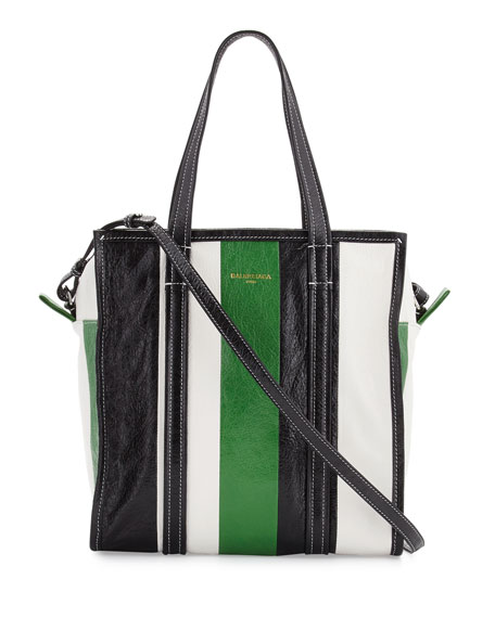 cb57f51e34 Balenciaga Bazar Small Striped Leather Shopper Tote Bag, Green/White/Black