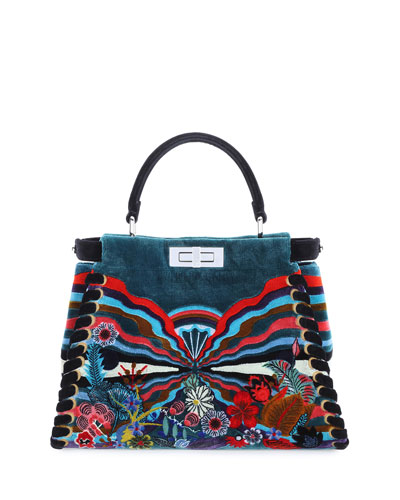 Peekaboo Medium Embroidered Velvet Bag, Multi