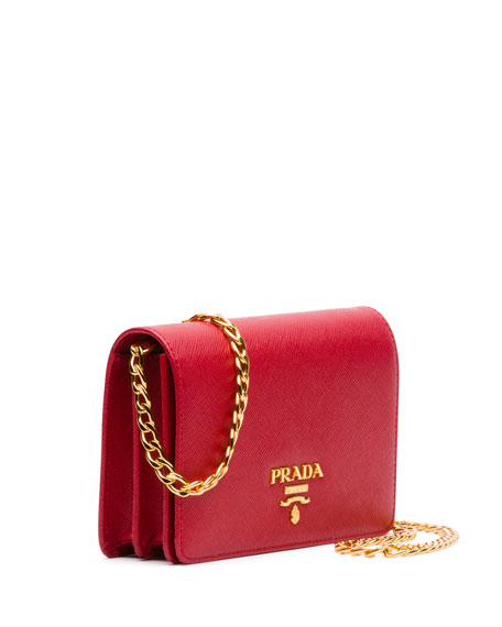 Saffiano chain shoulder bag - Red Prada XDSBhXXvJ1