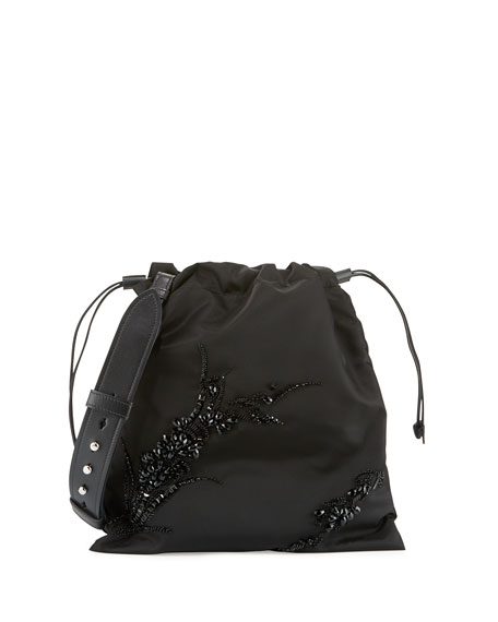 Image 1 of 1: Small Beaded Nylon Drawstring Pouch, Black (Nero)