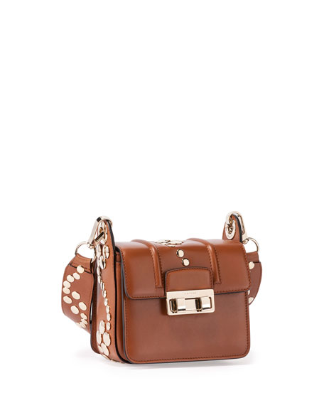 Studded Mini Shoulder Bag, Havana