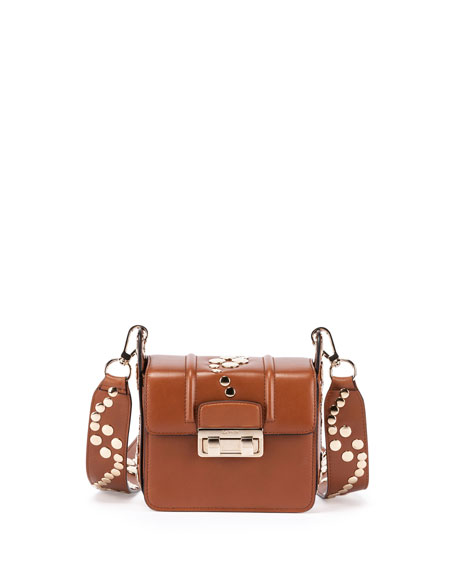 Studded Mini Shoulder Bag, Havana