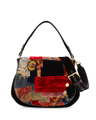 Embroidered Patchwork Crossbody Hobo Bag, Multi