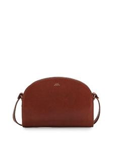 a p c half moon leather crossbody bag noisette. Black Bedroom Furniture Sets. Home Design Ideas