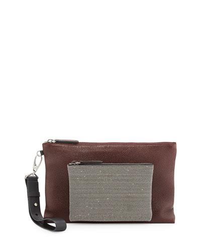 Pebbled Leather Wristlet Bag with Monili Front, Bordeaux