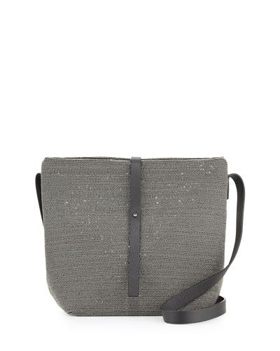 Leather Monili Bucket Bag, Gray