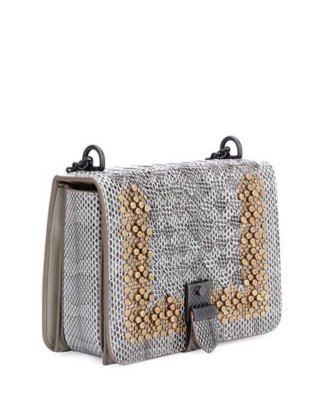 Small Flap Studded Snakeskin Crossbody Bag, Fume/Gold