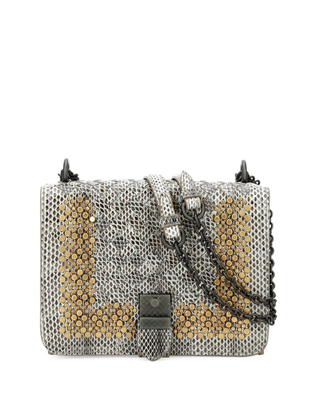 Bottega Veneta Small Flap Studded Snakeskin Crossbody Bag,