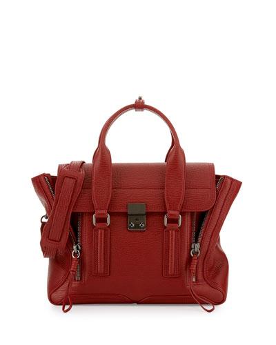 Pashli Medium Leather Satchel Bag, Brick