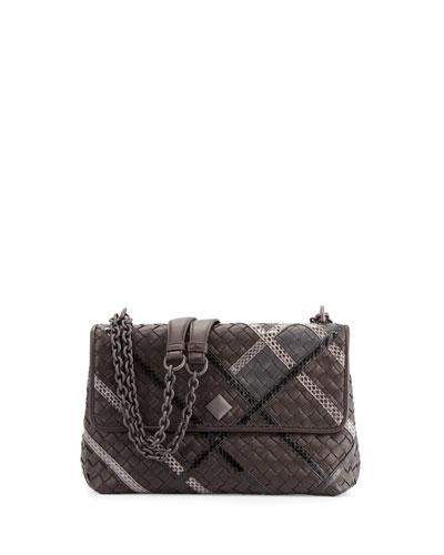 Olimpia Intrecciato Snakeskin & Leather Shoulder Bag, Black